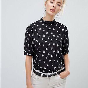 ASOS FASHION UNION | black and white rose blouse